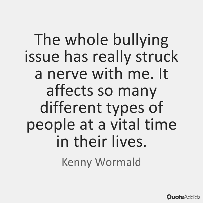 The whole bullying issue has really struck a nerve with me. It affects so many different types of people at a vital time in their lives. Kenny Wormald