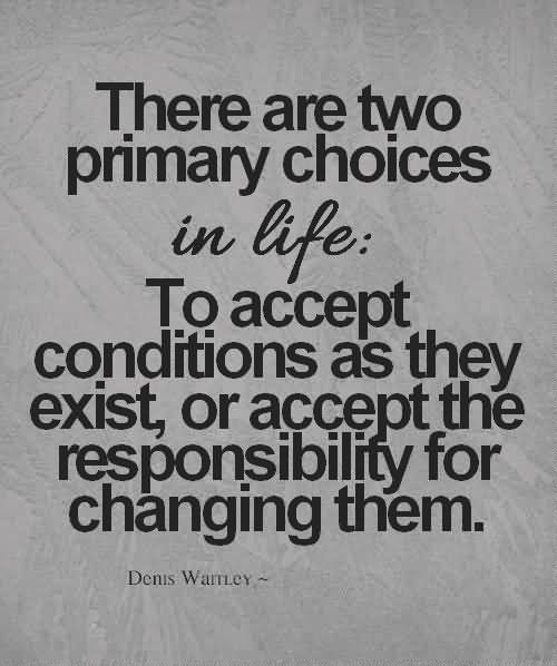 There Are Two Primary Choices In Life To Accept Conditions As They Exist - Denis Waitley