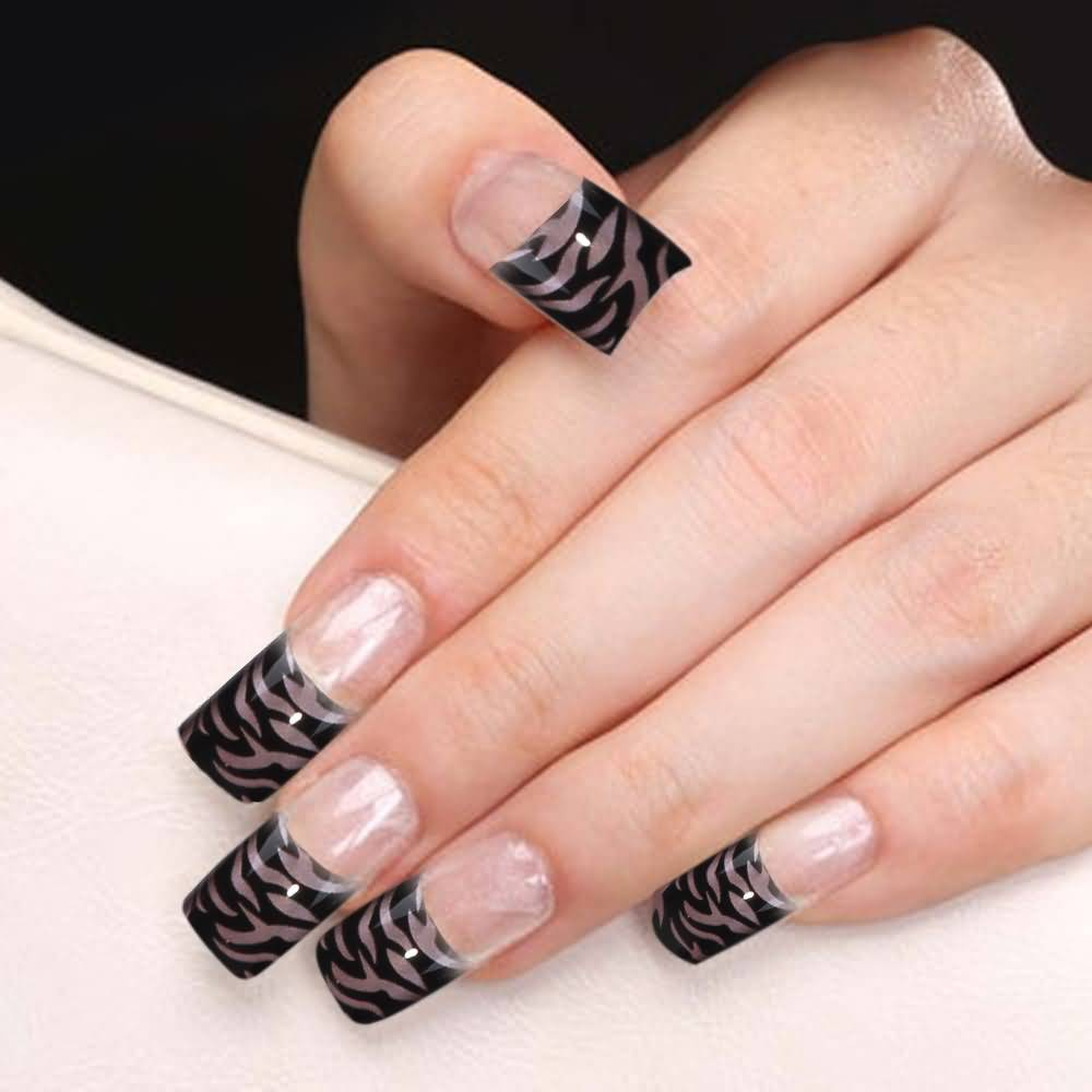 Tiger Print Black French Tip Nail Art Idea