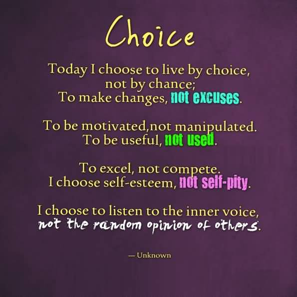 Today I Choose To Live By Choice, Not By Chance To Make Changes Not Excuses