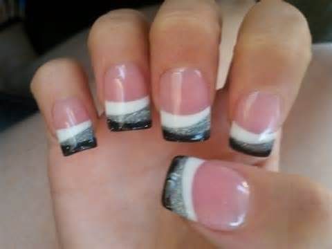 Very Simple Grey and Black French Tip Nail Art