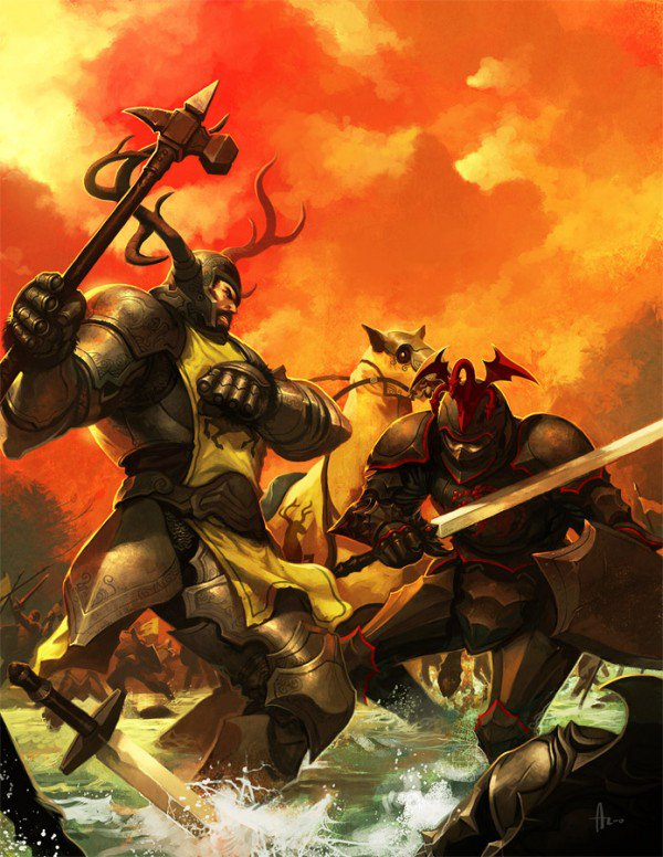 Warriors Fighting With Sword And Hammers Artwork By Andrew Hou