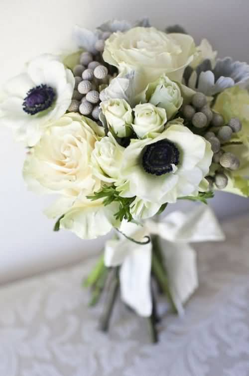 Wonderful Flower White Anemone Bouquet For Marriage