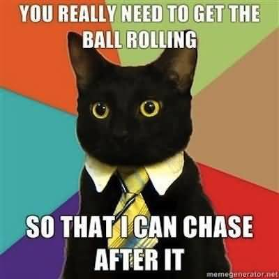 You really need to get the ball rolling so that i can chase after it