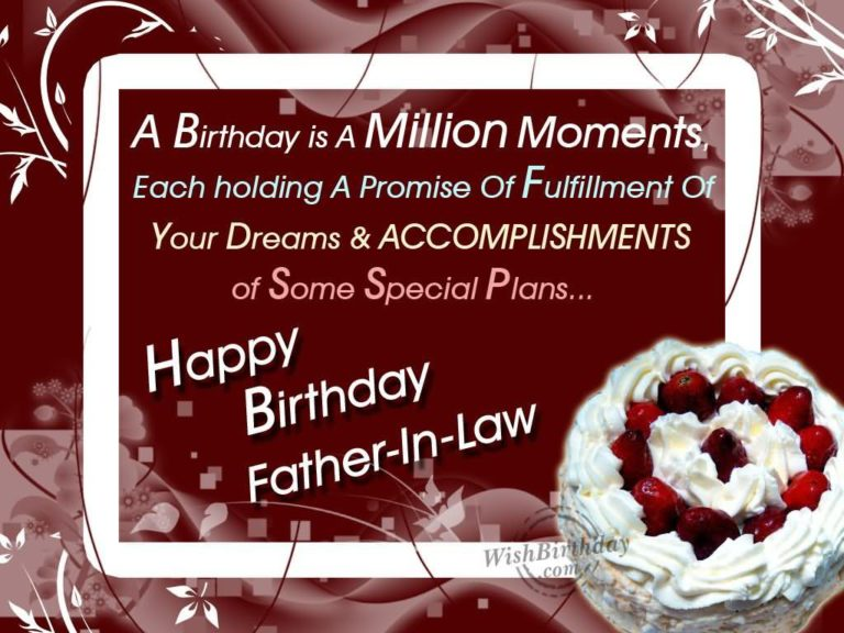 Ex father in law birthday greeting a birthday is a million moments happy birthday father in law m4hsunfo