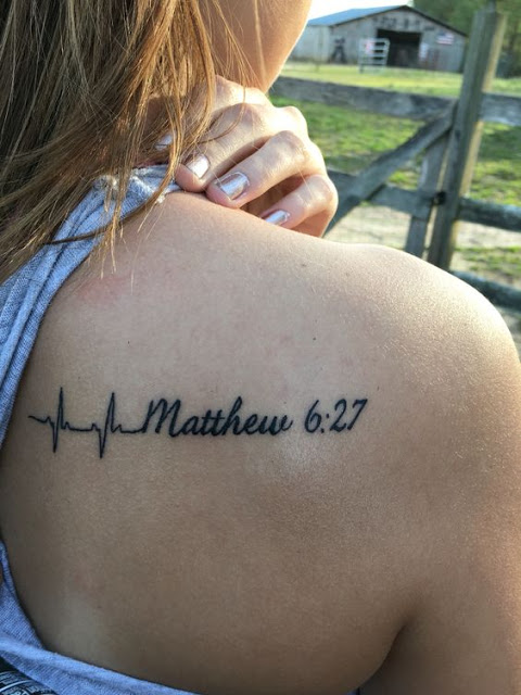 Amazing Heartbeat and Bible Proverb Tattoo For Women Back Body