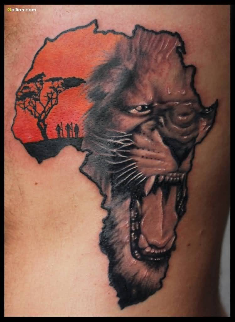 Amazing Lion Africa Map Tattoo Design For Men