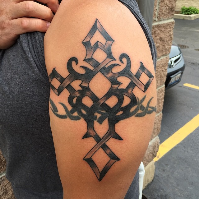 Amazing Tribal Armband and Cross Tattoo Design Made For Men Shoulder