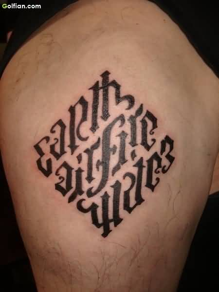Ambigram Earth Air Fire Water Square Tattoo On Men Shoulder