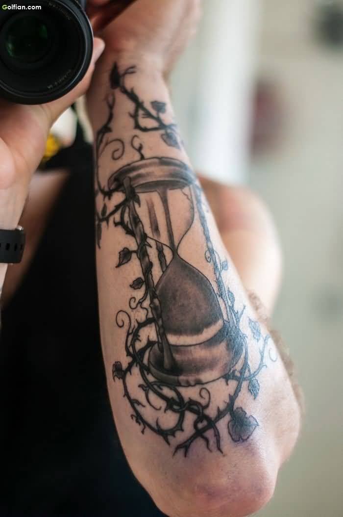 Another Best Hour Clock Arm Vine Tattoo Idea For Men