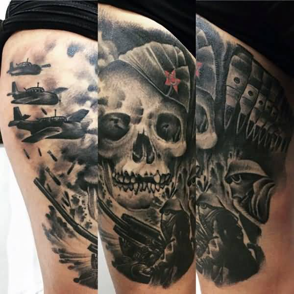 100 mind blowing army skull tattoos designs and ideas. Black Bedroom Furniture Sets. Home Design Ideas