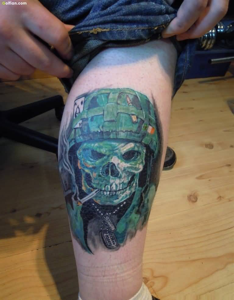 100 mind blowing army skull tattoos designs and ideas for Skull leg tattoos