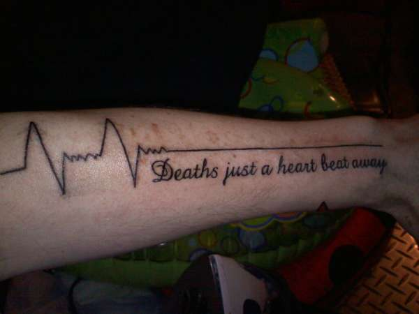 Awesome Heartbeat Quote Tattoo For Men Lower Arm