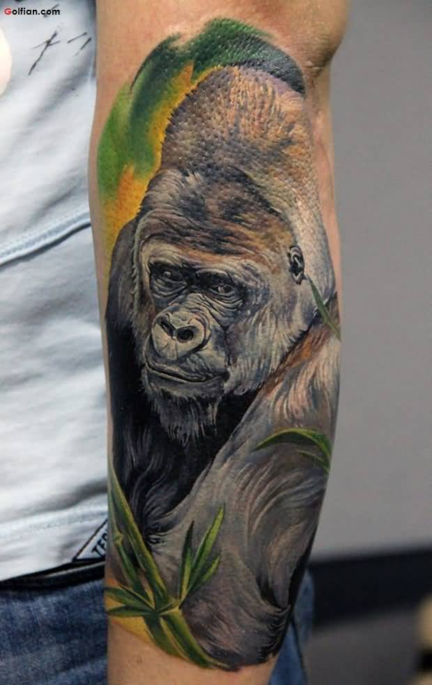 Awesome King Kong Face Tattoo Design For Men Forearm