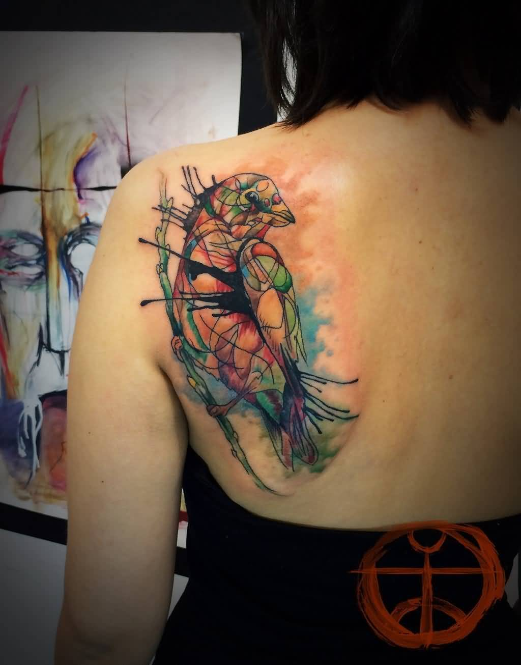 Beautiful Aqua Bird Tattoo Design Made For Women Back Body