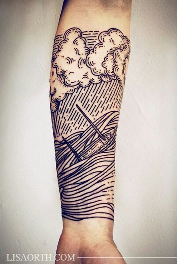 Beautiful Water and Ship Tattoo For Men Arm