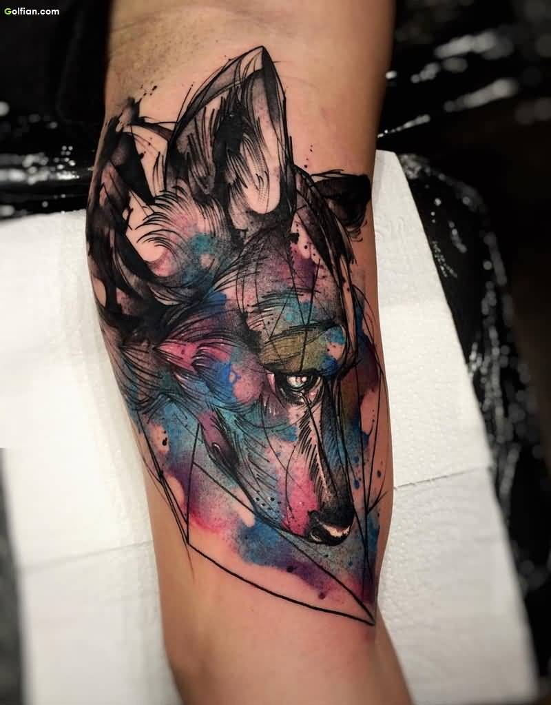 Beautiful Watercolor Wolf Head Tattoo For Men Arm