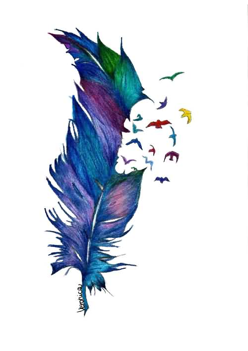 Best Bird Feather Aqua Tattoo Design On Paper