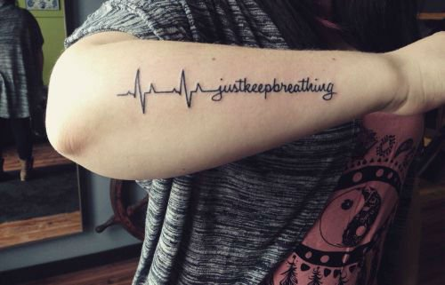 Best Heartbeat Quote Tattoo Made On Men Forearm