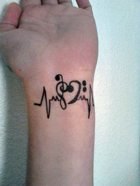 Black Ink Heartbeat Music Love Tattoo For Girl Ribs Side