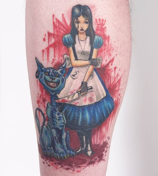 Brilliant Animated Girl and Cat Tattoo Idea For Leg