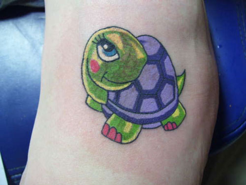 Brilliant Small Animated Green Turtle Tattoo Design On Leg
