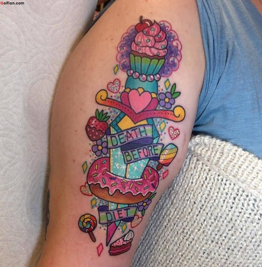 Colorful Dagger and Cupcake Tattoo With Flower and Heart On Arm