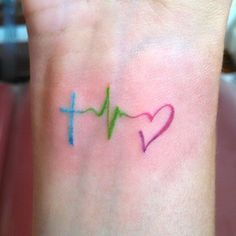 Colorful Ink Heartbeat Love Tattoo For Girl Wrist