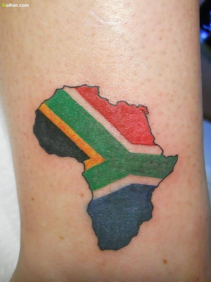 Colorful Small Africa Map Tattoo Design For Men