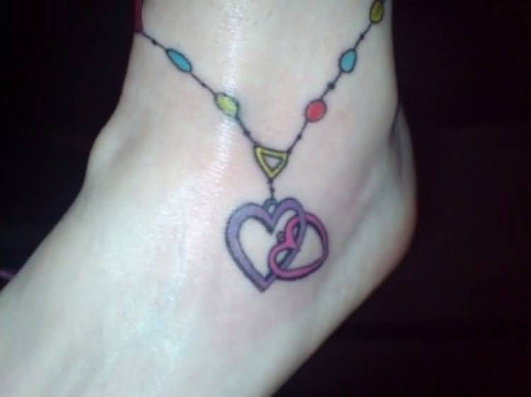 Feather Ankle Bracelet Tattoo With Heart