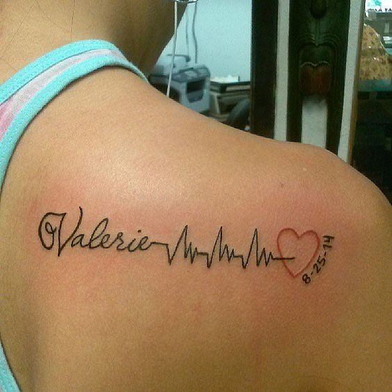Cool Girl Name and Love Heartbeat Tattoo With Date On Back Body