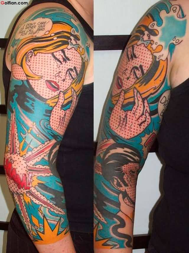 Coolest 3d Comic Tattoo Design On Women Arm