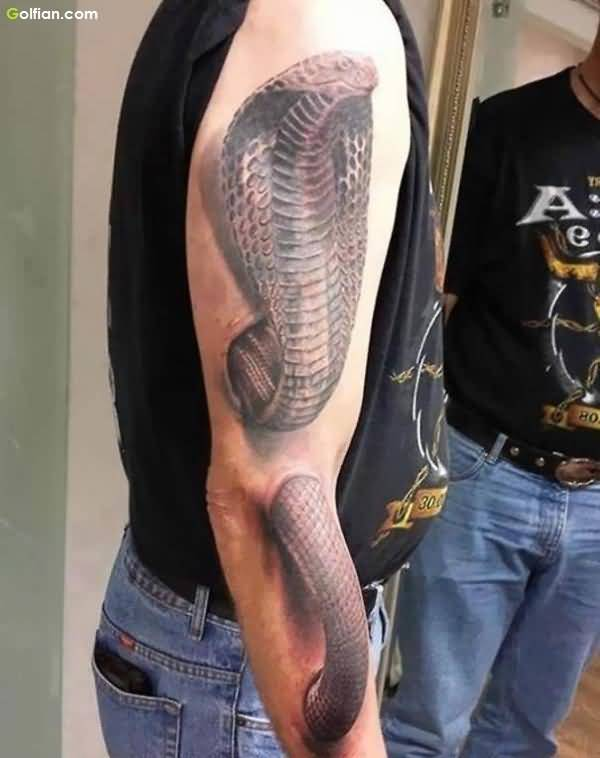 Coolest 3d Snake Tattoo Design For Men Full Arm