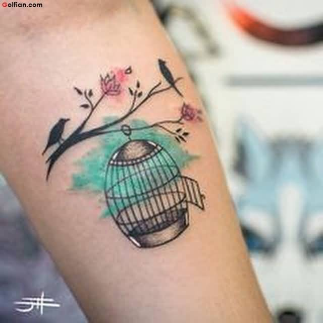 Coolest Aqua Tree and Cage Tattoo For Women Sleeve