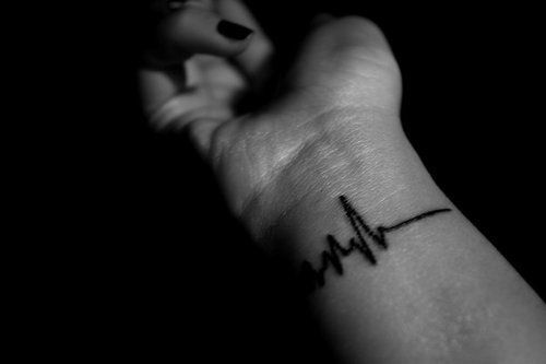 Coolest Heartbeat Wrist Tattoo For Men Made With Black Ink