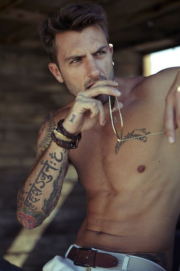 Coolest Sanskrit Word and Chest Tattoo Ideas For Cool Men