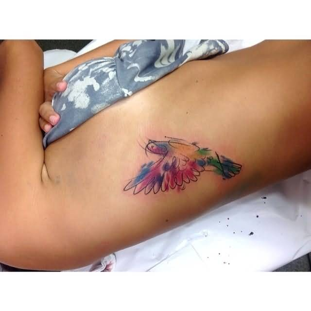 Coolest Small Aqua Bird Tattoo Made On Women Ribs Side
