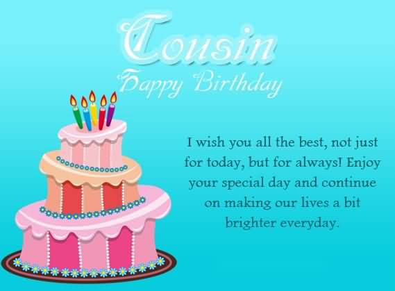 Birthday wishes for cousin male cousin happy birthday i wish you all the best not just for today but for always m4hsunfo