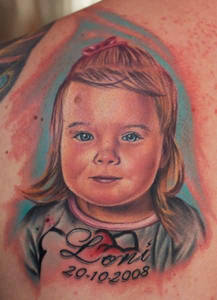 Cutest Baby Face With Name Tattoo Design Made On Men Back Body