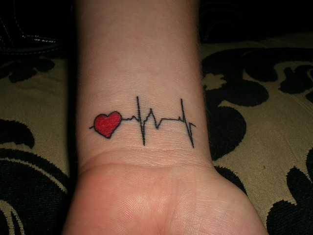 Cutest Heartbeat And Heart Love Tattoo Design For Wrist