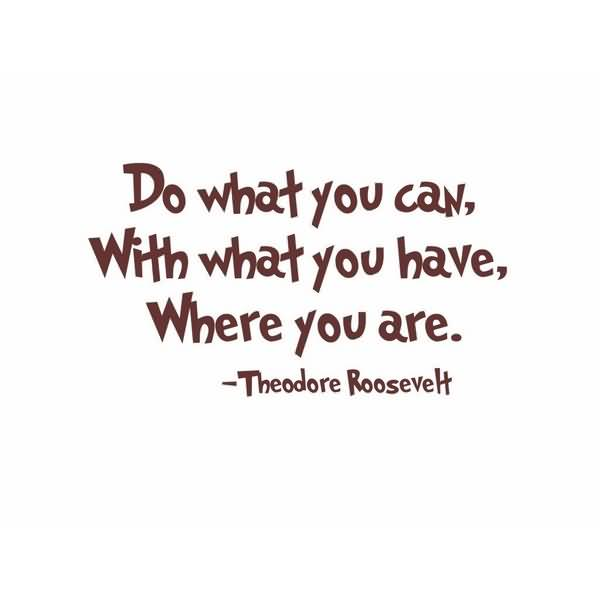Do what you can with what you have where you are - Theodore Roosevelt