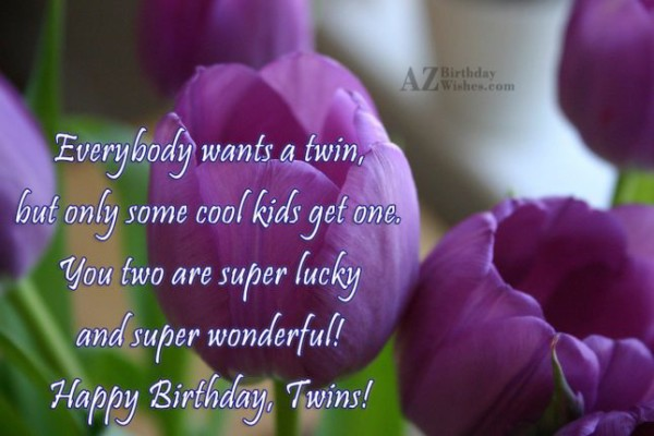 Everybody Wants A Twin But Some Cool Kids Get One You Two Are Super Lucky And Super Wonderful Happy Birthday Twins