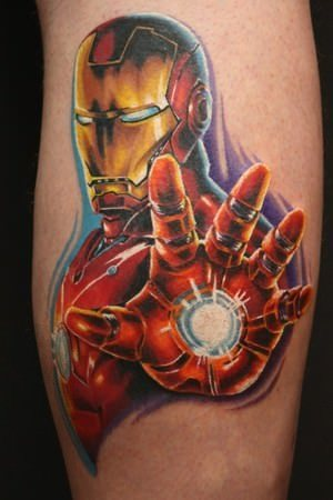 Fabulous Animated Iron Man Tattoo For Men Calf
