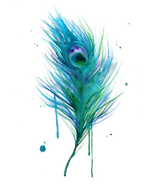 Fabulous Aqua Peacock Feather Tattoo Design Idea