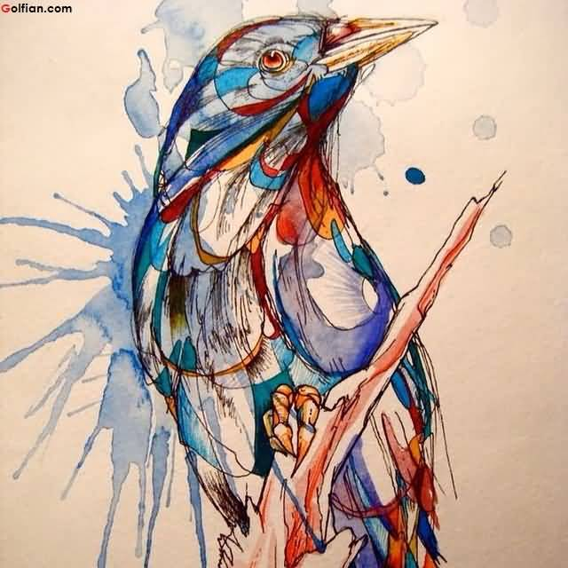 Fantastic Aqua Bird Sitting On Tree Tattoo Design Art