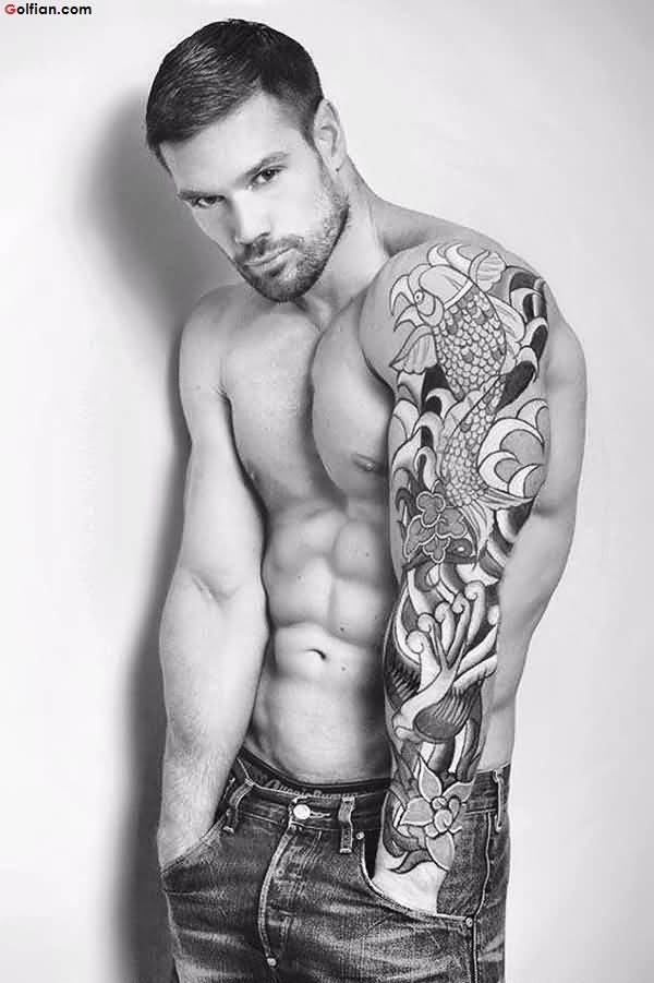 Fantastic Arm Tattoo Asian Fish and Flower For Cool Men