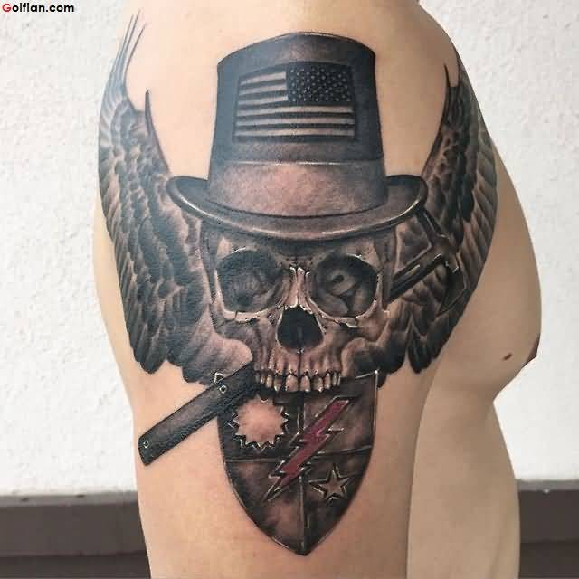 Fantastic Army Skull With Wings and Batch Tattoo On Men Shoulder