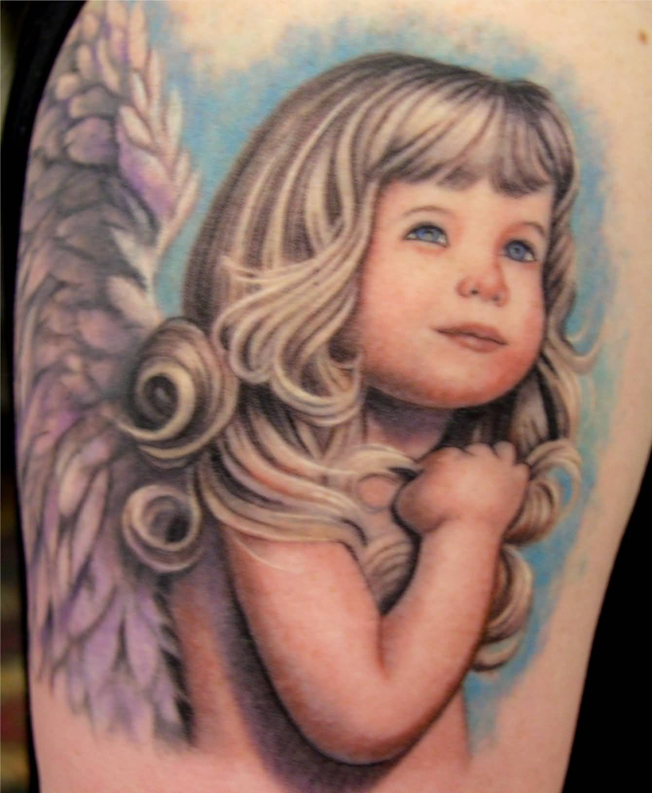 Fantastic Baby Angel Girl Tattoo For Men Shoulder
