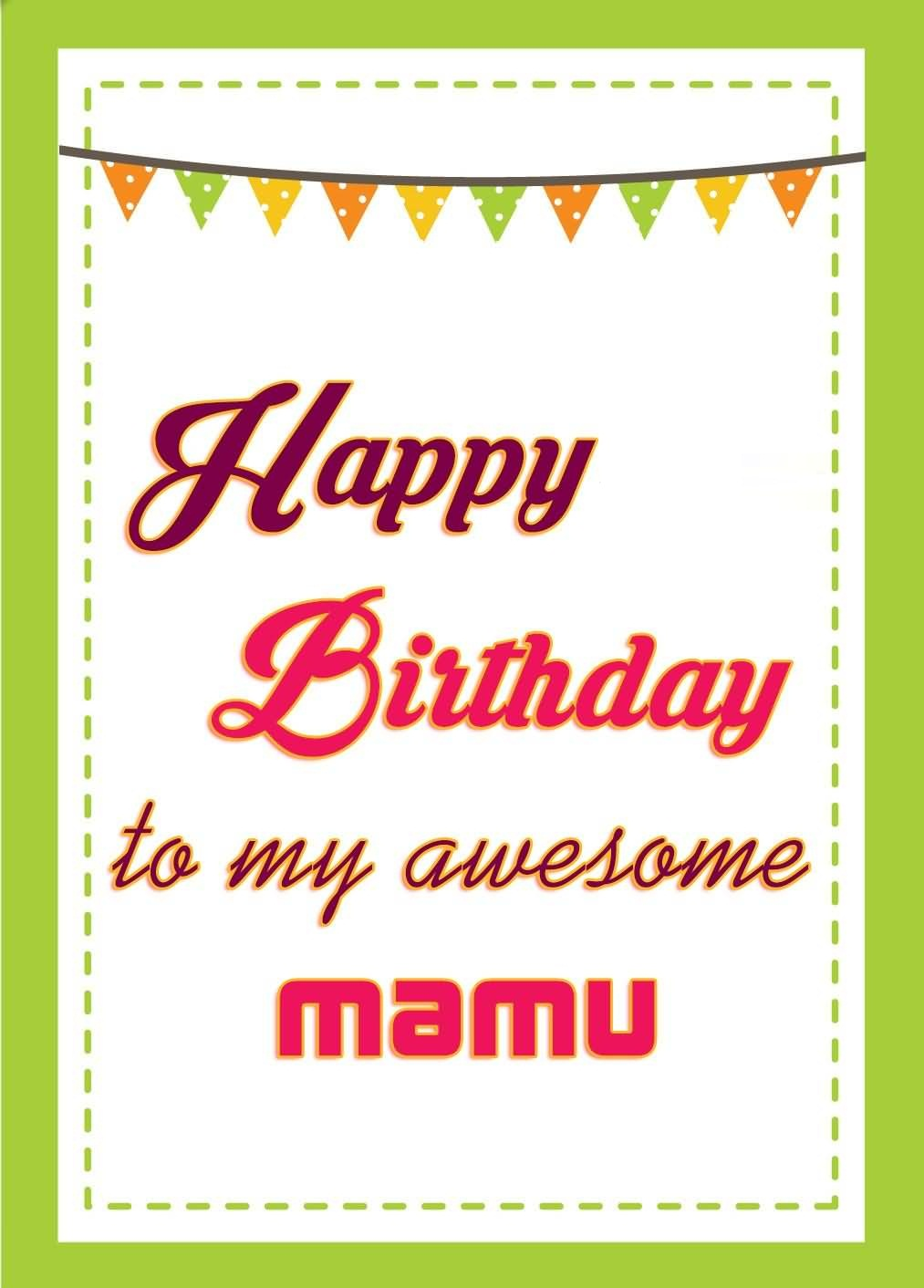 Greeting Card For Mamu Happy Birthday To My Awesome Mamu