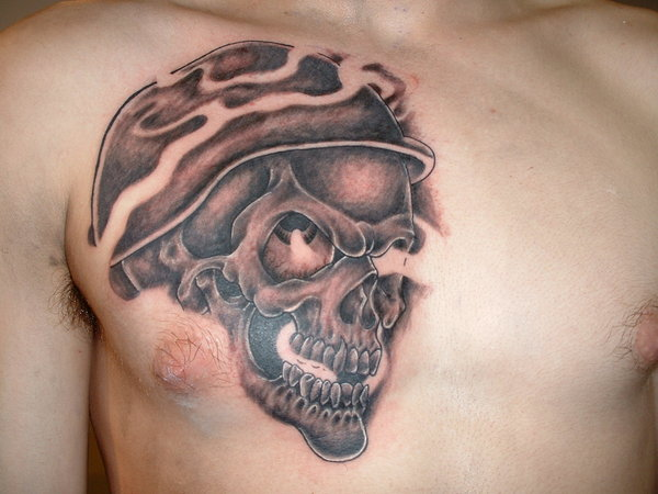 Grey Ink 3d Army Skull Tattoo Design For Men Chest